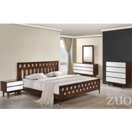 LA Walnut Panel Bedroom Set