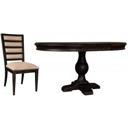 The Foundry Cafe Foley Paint Black Round Dining Room Set