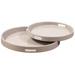 Taupe Lacquer Round Wood Tray Set