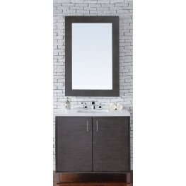 "Metropolitan 36"" Silver Oak Single Vanity With 3Cm Snow White Quartz Top"