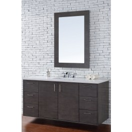 "Metropolitan 60"" Silver Oak Single Vanity With 3Cm Snow White Quartz Top"