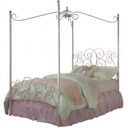 Princess Pink Twin Metal Canopy Bed