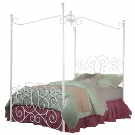 Princess White Twin Metal Canopy Bed