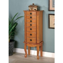 Oak Warm Brown Oak Jewelry Armoire 900135