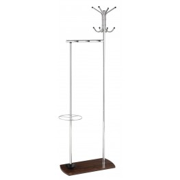 900898 Wood Base Chrome Coat Rack