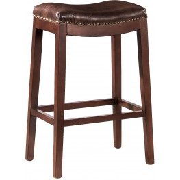 Cherry Leather Backless Counter Stool Set of 2