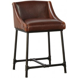 Brown Iron Pipe Counter Stool Set of 2