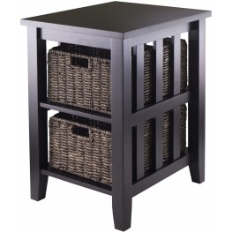 Morris Espresso Side Table with 2 Foldable Baskets