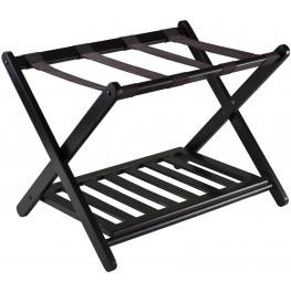 Reese Dark Espresso Luggage Rack with shelf