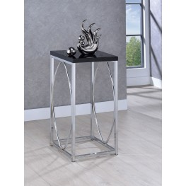 Chrome And Black Accent Table