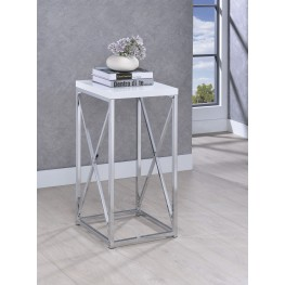 Chrome And White Accent Table