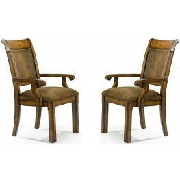 Larkspur Burnished Caramel Upholstered Back Arm Chair Set of 2