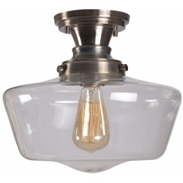 Cambridge Aged Metal With Clear Glass 1 Light Semi Flush Mount