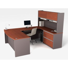 Connexion U-Shaped Workstation Kit In Bordeaux & Slate