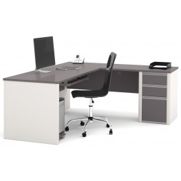 Connexion Slate & Sandstone L-Shaped Workstation