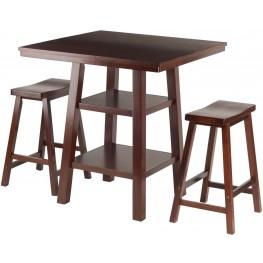 Orlando 3 Piece Walnut Counter Height Dining Set with Saddle Seat Stools