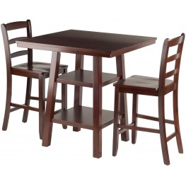 Orlando 3 Piece Walnut Counter Height Dining Set with Ladder Back Stools