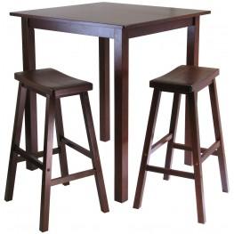 Parkland Walnut 3 Piece Counter Height Dining Set with 2 Saddle Seat Stools