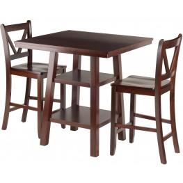 Orlando 3 Piece Walnut Counter Height Dining Set with V- Back Stools