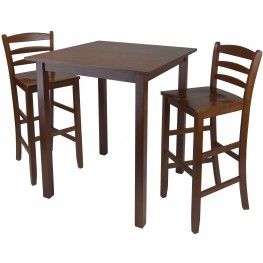 Parkland Walnut 3 Piece Counter Height Dining Set with Ladder Back Bar Stools