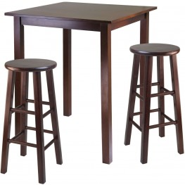 Parkland Walnut 3 Piece Counter Height Dining Set with 2 Square Leg Stools