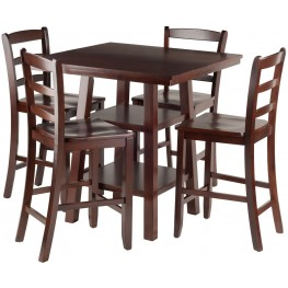 Orlando 5 Piece Walnut Counter Height Dining Set with Ladder Back Stools