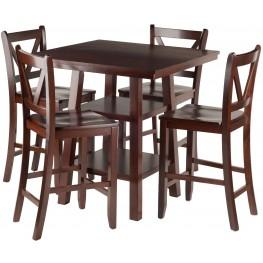 Orlando 5 Piece Walnut Counter Height Dining Set with V- Back Stools