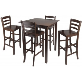 Parkland Walnut 5 Piece Counter Height Dining Set with Ladder Back Bar Stools