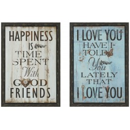 Happiness Wall Art With Frame Set of 2