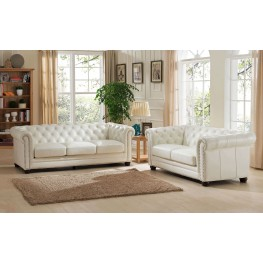 Delightful Monaco Pearl White Leather Living Room Set