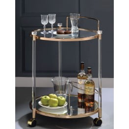 ... Todd Gold And Clear Glass Serving Cart