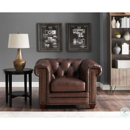 Charmant Stanwood Brown Leather Armchair