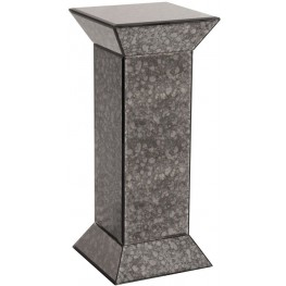 Atlas Gray Antiqued Mirrored Pedestal Table