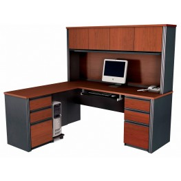 Prestige Plus L-Shaped Workstation Kit In Bordeaux & Graphite