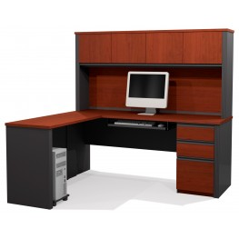 Prestige Plus Bordeaux & Graphite L Shaped Workstation Kit