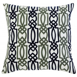 Embroidered Fiber filled Navy Pillow Set of 4