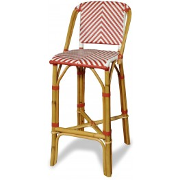 Rum Point Red Rattan Bar Stool