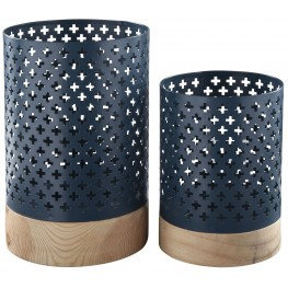 Daichi Navy and Natural Candle Holder Set of 2