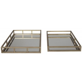 Ocie Antique Gold Tray Set of 2