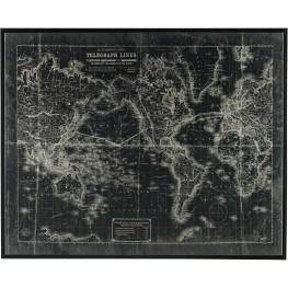 Framed Map framed Canvas Wall Art
