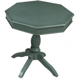 Octagon Antique Teal Accent Table