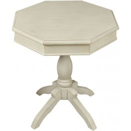 Octagon Antique White Accent Table