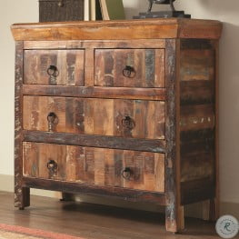950366 Reclaimed Wood 4 Drawer Accent Cabinet