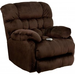 Massaging Sharpei Chocolate Microfiber Rocker Recliner