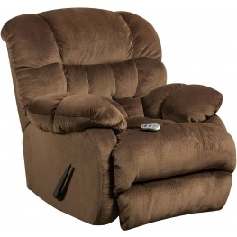 Massaging Sharpei Espresso Microfiber Rocker Recliner