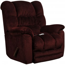 Massaging Temptation Merlot Microfiber Rocker Recliner