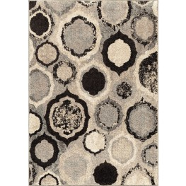 American Heritage Plush Pile Circles Pannel Gray Large Area Rug