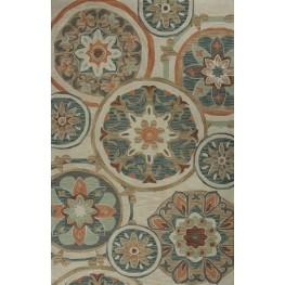 "Anise Ivory and Seafoam Mosaic 90"" X 60"" Rug"