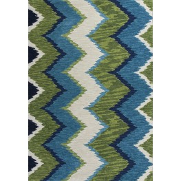 """Anise Blue and Green Chevron 63"""" X 39"""" Rug"""