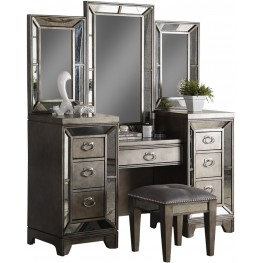 Lenox Platinum Painted Vanity Desk With Mirror